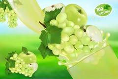 葡萄和苹果汁和飞溅 液体3d现实传染媒介例证甜果子、成套设计或者海报流程  皇族释放例证