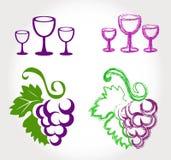 葡萄和酒杯 向量例证