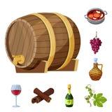 葡萄和酿酒厂标志的传染媒介例证 葡萄和制造的储蓄传染媒介例证的汇集 向量例证