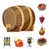 葡萄和酿酒厂象传染媒介设计  葡萄和制造的股票简名的汇集网的 皇族释放例证