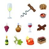 葡萄和酿酒厂象被隔绝的对象  设置葡萄和制造的股票简名网的 库存例证