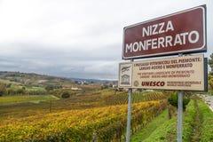 葡萄园小山在秋天在尼扎蒙费拉托,阿斯蒂省,山麓,意大利 免版税库存图片