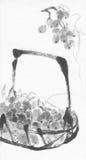 葡萄墨水绘画篮子  免版税库存照片