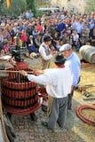 葡萄收获的节日在许斯克朗村庄,在Fran南部 免版税库存图片