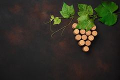 葡萄束与叶子的黄柏在生锈的背景 库存图片