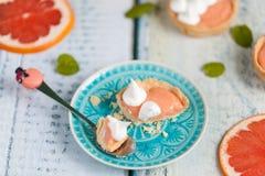 葡萄柚凝乳果子馅饼用在上面的蛋白甜饼 免版税库存照片