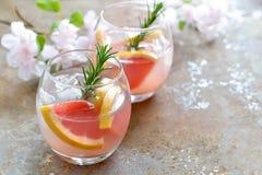 葡萄柚和迷迭香饮料 库存图片