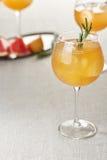 葡萄柚汁酒杯与冰块和迷迭香的 库存照片