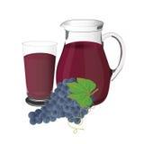 葡萄汁和葡萄,杯子,传染媒介,例证,隔绝在白色背景 库存照片