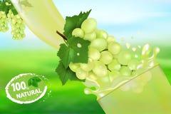 葡萄汁和飞溅 液体3d现实传染媒介例证甜果子、成套设计或者海报流程  向量例证