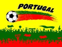 葡萄牙与足球和葡萄牙支持者的旗子颜色 库存图片