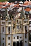 葡萄牙亚速尔群岛Terceira巴洛克式的教会- Angra做Heroismo 图库摄影