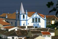 葡萄牙亚速尔群岛Terceira巴洛克式的教会- Angra做Heroismo 免版税库存照片