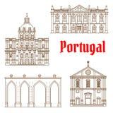 葡萄牙人里斯本象旅行地标  向量例证