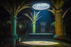 葡萄牙储水池 El Jadida储水池,摩洛哥 古老欧洲历史大厦在摩洛哥 免版税库存图片