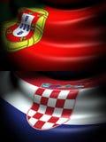 葡萄牙和克罗地亚的旗子 图库摄影