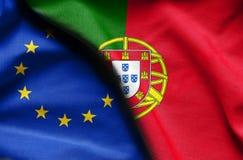 葡萄牙和欧盟旗子  库存照片
