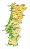 葡萄牙地势图 库存图片