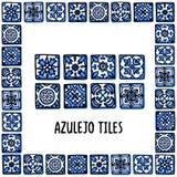 葡萄牙地标集合 葡萄牙瓦片,azulejo 在葡萄牙瓦片框架,azulejo的里斯本马赛克 手拉的剪影 库存例证