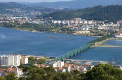 葡萄牙城市维亚纳堡鸟瞰图  库存照片