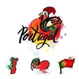 葡萄牙旅行目的地商标 库存例证