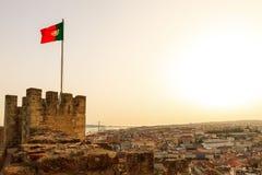 葡萄牙旗子城堡 库存图片