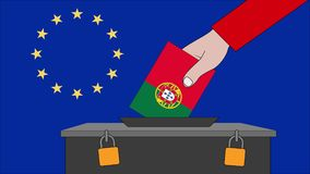 葡萄牙欧洲选举的投票箱 向量例证