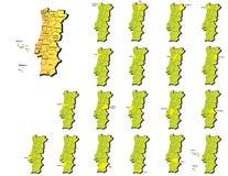 葡萄牙省地图 库存照片