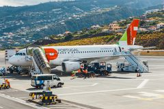 葡萄牙航空公司空中客车A319-111在丰沙尔基斯坦奴・朗拿度机场,上的乘客 这airpo 免版税库存图片