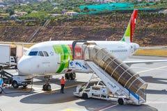 葡萄牙航空公司空中客车A319-111在丰沙尔基斯坦奴・朗拿度机场,上的乘客 库存图片