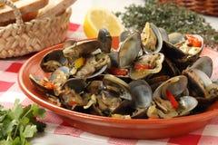 葡萄牙蛤蜊传统盘 库存图片