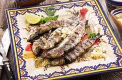 葡萄牙语烤沙丁鱼 免版税库存照片