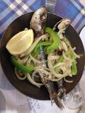 葡萄牙语烤沙丁鱼 库存照片
