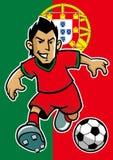 葡萄牙足球运动员有旗子背景 库存图片