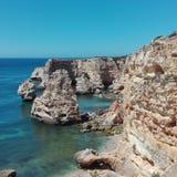 葡萄牙阿尔加威Praia de Marinha 免版税库存图片