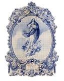 葡萄牙,吉马朗伊什-典型的老葡萄牙蓝色和白色陶瓷砖 免版税图库摄影