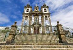 葡萄牙,波尔图:在17世纪期间, Santo伊尔德方索教会建造;与两个塔的门面完全地是报道的机智 库存图片