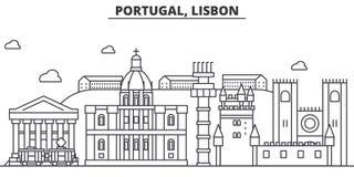 葡萄牙,里斯本建筑学线地平线例证 与著名地标的线性传染媒介都市风景,城市视域 向量例证