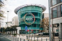 葡萄牙,里斯本2018年4月30日:维护或总店的Ageas Seguros中心 图库摄影