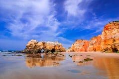 葡萄牙,阿尔加威-普腊亚da Rocha 图库摄影