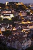 葡萄牙:大厦在中央里斯本在晚上 免版税库存照片