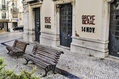 葡萄牙总罢工电话 库存照片