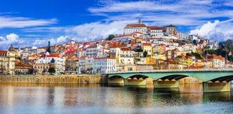 葡萄牙-美丽的科英布拉的地标镇 库存图片