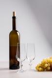 葡萄白葡萄酒 在瓶,两块空的玻璃a的白葡萄酒 免版税图库摄影