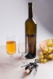 葡萄白葡萄酒 在玻璃,瓶的白葡萄酒,螺旋式前进  免版税图库摄影