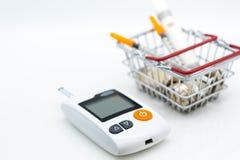 葡萄糖米和射入针在现金篮子,图象用途医疗保健概念的 免版税图库摄影