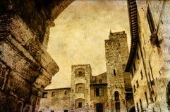 葡萄酒一个正方形的样式图片在圣Gimgnano 免版税库存图片