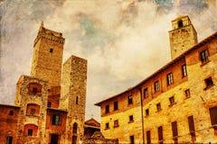 葡萄酒一个正方形的样式图片在圣Gimgnano 库存图片
