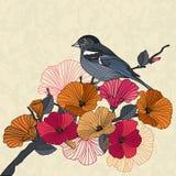 葡萄酒一只鸟的传染媒介例证与花的在庭院里 免版税库存图片