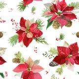 葡萄酒一品红开花背景-无缝的圣诞节样式 库存照片